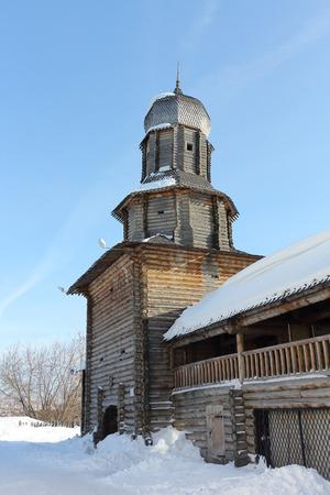 Spasskaya Tower of the wooden Kremlin, Tomsk city, Russia Stock Photo