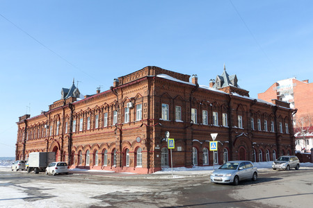 pilasters: Tomsk city, Russia - February, 25: The profitable house of Shvetsov, the historical building built in 1833. Taken on February, 25, 2017 in Tomsk city, Russia
