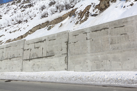 Gabion - protection of the mountain road from rocky talus