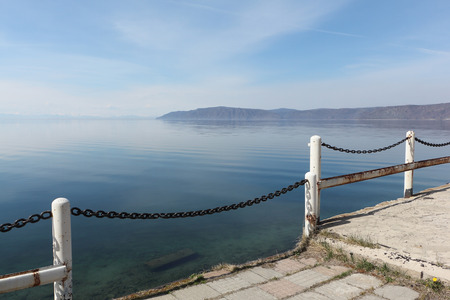 View of Lake Baikal from the waterfront, Listvyanka settlement, Siberia, Russia Stock Photo