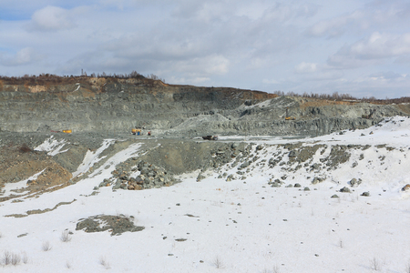 Extraction of minerals by open pit, quarry, Novosibirsk region, Russia Фото со стока