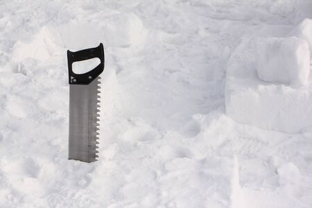 Saw for sawing snow blocks for building an igloo