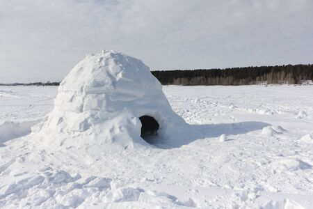 Igloo  standing on a snowy glade  in the winter, Novosibirsk, Russia Stock fotó