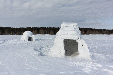 Igloo standing on a snowy glade in the winter, Novosibirsk, Russia