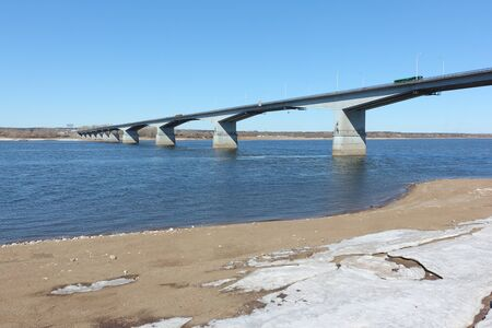 View of the automobile bridge over the Kama River, Perm city, Russia