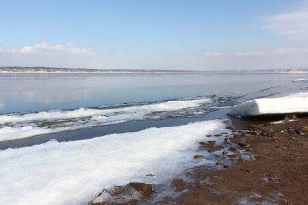 View of the Kama River in the spring, Perm city, Russia