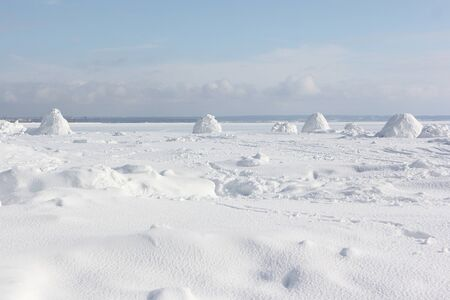 Igloo  standing on a snowy  reservoir in the winter, Novosibirsk, Russia Zdjęcie Seryjne