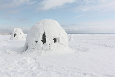Igloo  standing on a snowy  reservoir in the winter, Novosibirsk, Russia Stock fotó