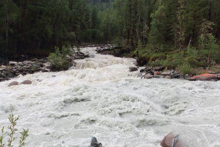 Tekelu River flowing into the Akkem River, Altai Republic, Russia 写真素材