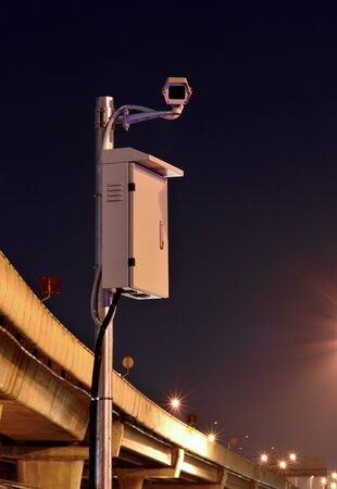 CCTV cameras are working at night area freeways photo