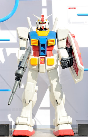approximately: Gundam robot modeled approximately 1 meter length . On a white background