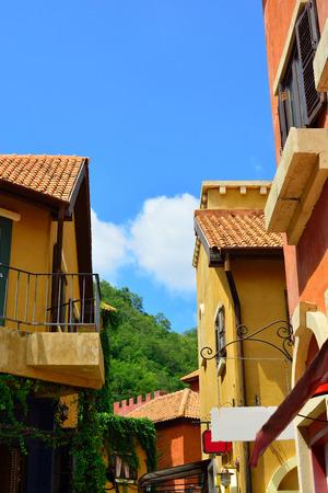 Italian building classic style on blue sky