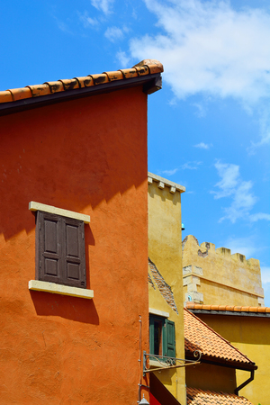 Italian building colorful classic style on blue sky