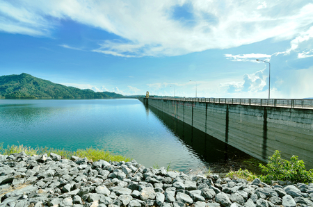 beautiful view dam with blue sky