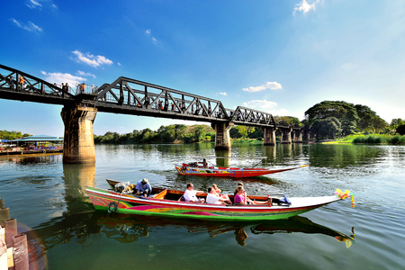 KANCHANABURI, THAILAND - FEBRUARY 21,2016;Tourist boat ride to the natural beauty, the river Kwai Khwae in Kanchanaburi