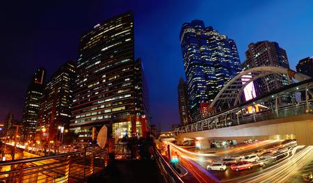 conner: Chong Nonsi Skywalk during twilight time, Bangkok,Thailand Stock Photo