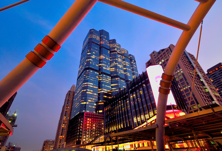 In the viwe whitebridge on Sathorn Junction twilight time,Bangkok Thailand Stock Photo