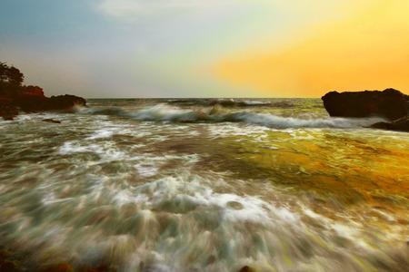 Sea beach The light of sunset