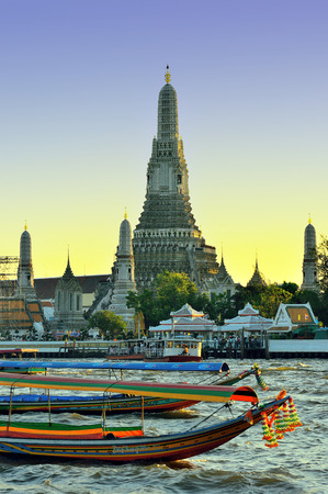 Beautiful wilight view of Wat Arun across Chao Phraya River,Bangkok Thailand Stock Photo