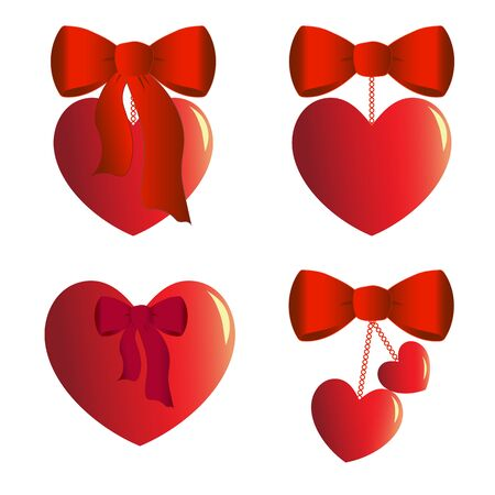 Four heart charms with bows Illustration