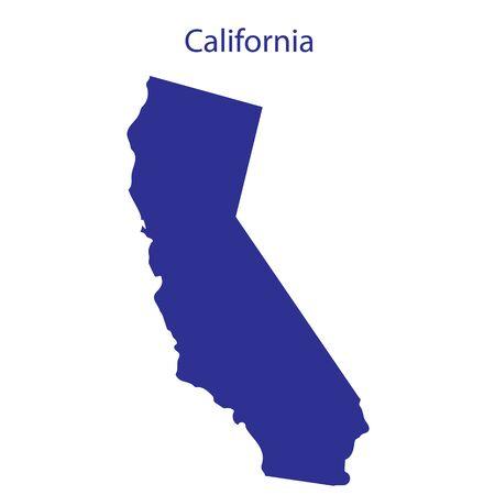 미국, 캘리포니아. 그것의 테두리에 상태의 어두운 파란색 실루엣.