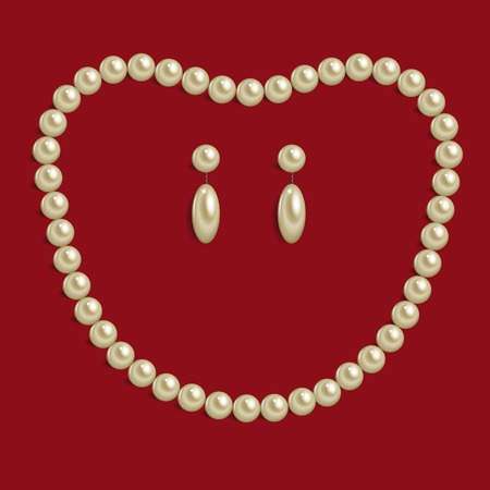 Necklace of brilliant pearls on red background Illustration