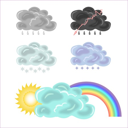 Five variants of clouds and rainbow