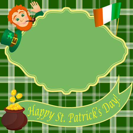 northern ireland: Card with Leprechaun for St. Patricks day Illustration