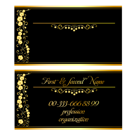 Two business cards with a pattern of Golden Orchids on a black background