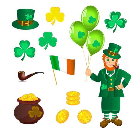 Leprechaun, treasure, shamrock to St Patricks day