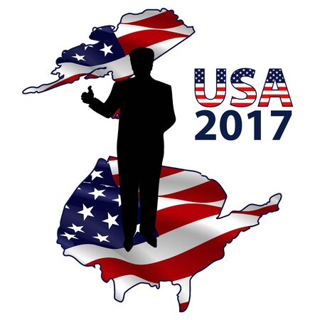 The silhouette of the President on the USA map.
