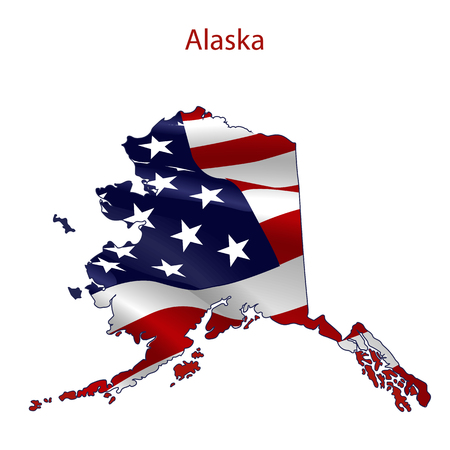 Alaska full of American flag waving in the wind. The outline of the state