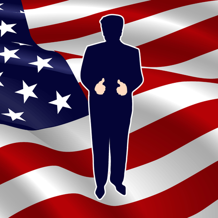 The silhouette of the President on American flag background