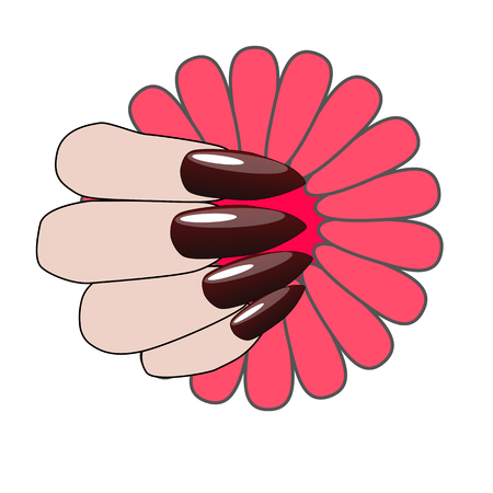 Woman hand with nice manicure and flower.