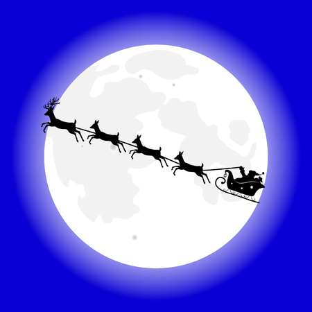 Santa Claus on his christmas sleigh with reindeers flying - vector illustration