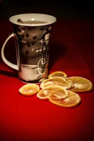 Cup of tea and dried lemons
