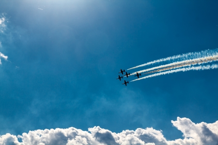 Flying In Formation at airshow Stock Photo