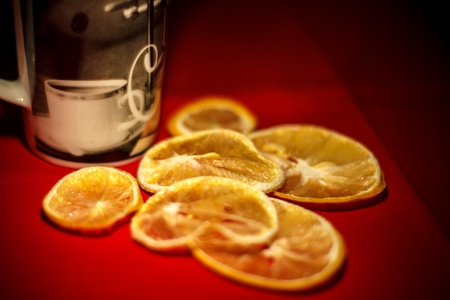 Cup of tea with dried lemons Stock Photo