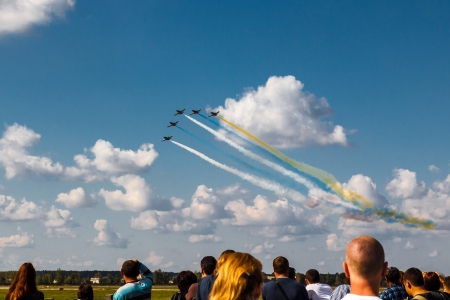 GOSTOMEL, KIEV UKRAINE - SEPTEMBER 29  Aerobatic Team RUSS flies in formation at 8th International Aviation and Space Salon AVIASVIT-XXI on September 29, 2012 in Ukraine,Kyiv-Antono v aerodrom Editorial
