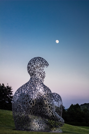sculpture  House of Knowledge , artist Jaume Plensa, located  at the exhibition of contemporary art  Kyiv Sculpture Project 2012  on June 02, 2012 in Kiev, Ukraine Stock Photo - 20473594