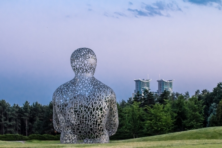sculpture  House of Knowledge , artist Jaume Plensa, located  at the exhibition of contemporary art  Kyiv Sculpture Project 2012  on June 02, 2012 in Kiev, Ukraine