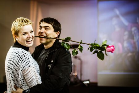 ODESSA, UKRAINE - NOV 24  Laughing happy couple in love at the end of