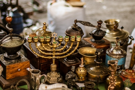 Old fashioned menorah and other antique decorative items on the Kiev