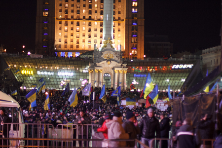 KIEV  KYIV , UKRAINE - DECEMBER 4, 2013  Hundreds of thousands protest in Kiev against suspension of EU Association and forceful break up of pro-European  Euromaidan  meeting by police on Friday night