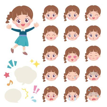 Girl Face Set 1 Vektorgrafik