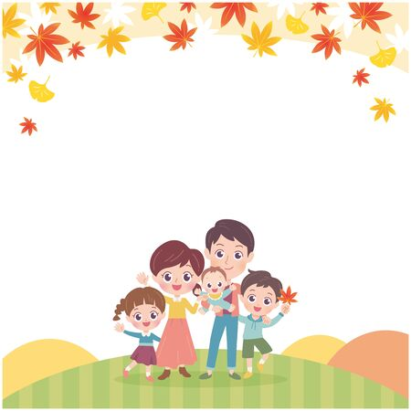 Family Autumn Leaves Illustration