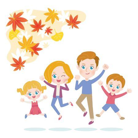 Jump Family Autumn Leaves Illustration