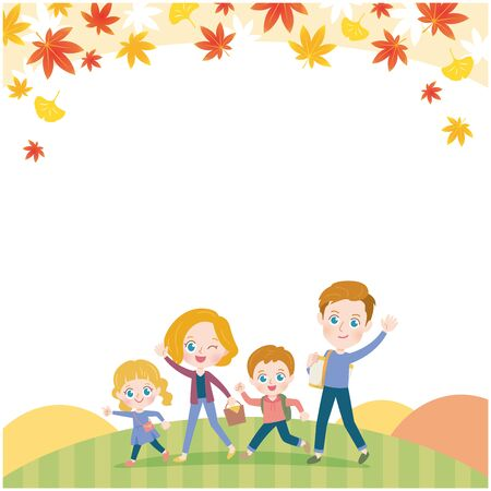 Walking Family Autumn Leaves Illustration