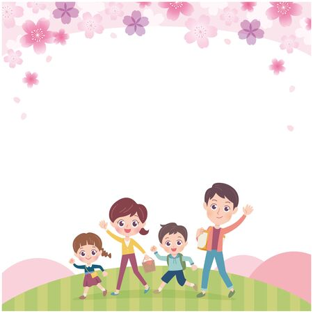 Family is cherry blossom viewing.It's vector art so it's easy to edit.