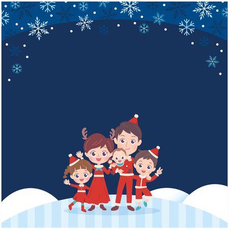 Family enjoying Christmas. Its vector art so its easy to edit.